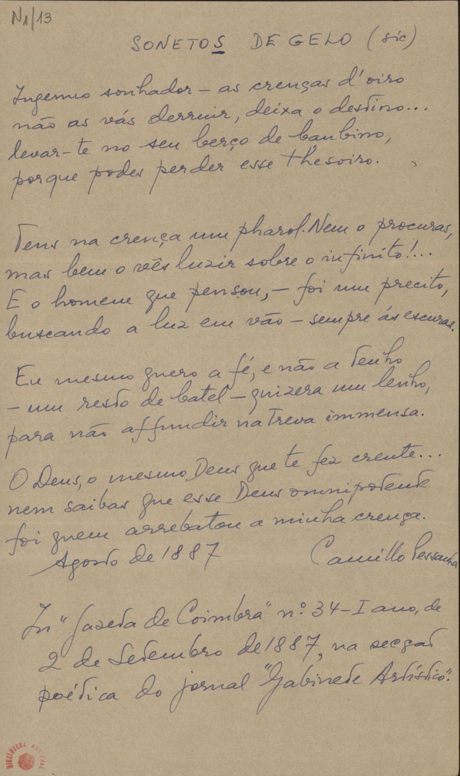 autógrafo de «SONETO DE GELO»