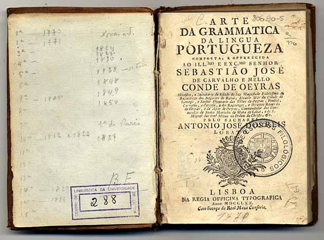 Arte da grammatica da lingua portugueza / António José dos Reis Lobato. - Lisboa : Na Regia Officina Typografica, 1770. - XLVIII, 253 p. ; 15 cm