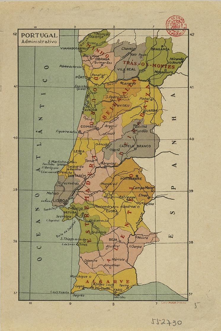 Mapa De Portugal Continental Completo.Portugal Administrativo Porto Ca 1930 Biblioteca