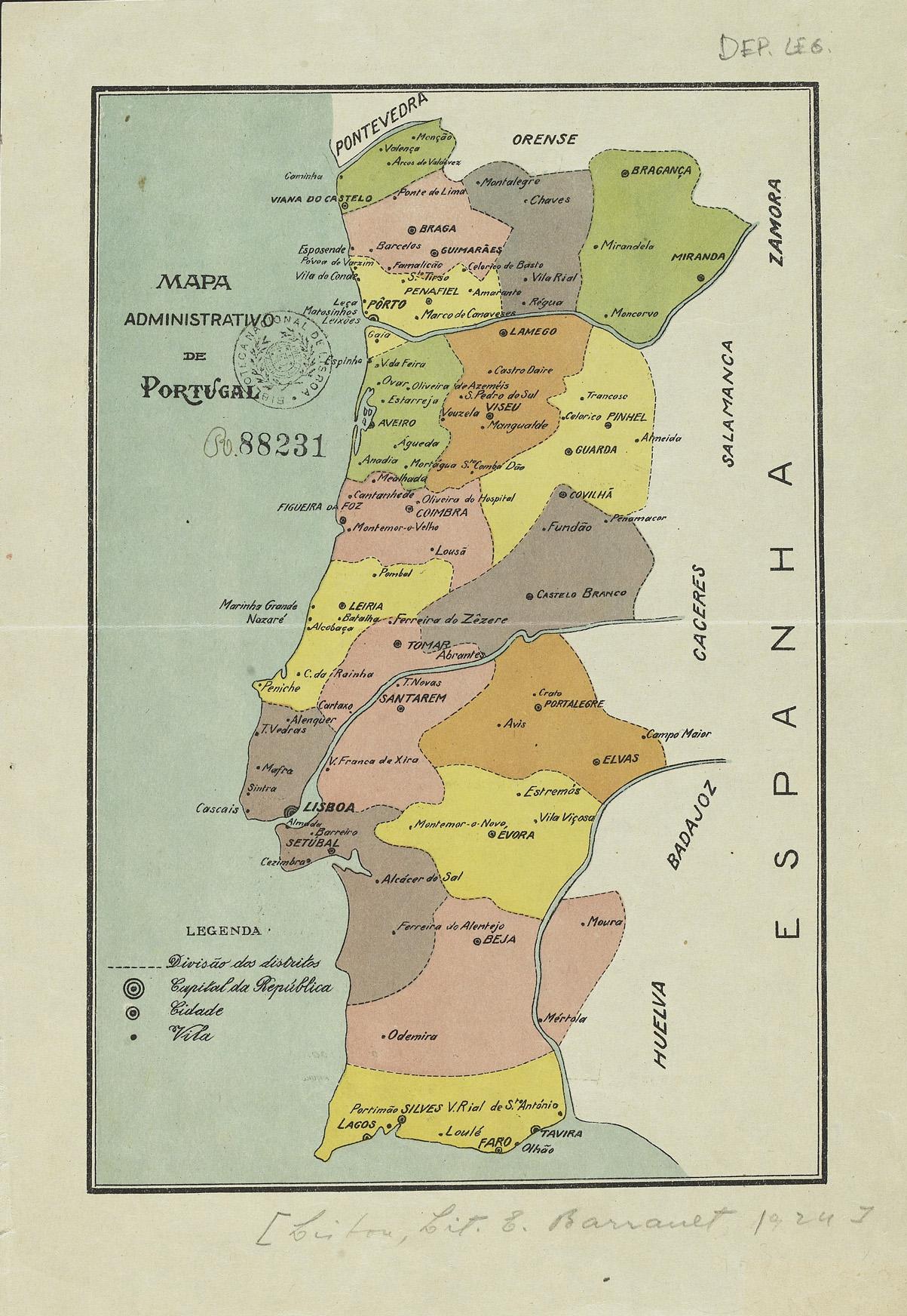 mapa com escala de portugal Mapa administrativo de Portugal mapa com escala de portugal